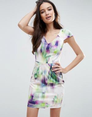 Talulah Платье мини с акварельным принтом Bring Me To Life. Цвет: белый