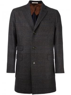 Однобортное клетчатое пальто Hackett. Цвет: коричневый