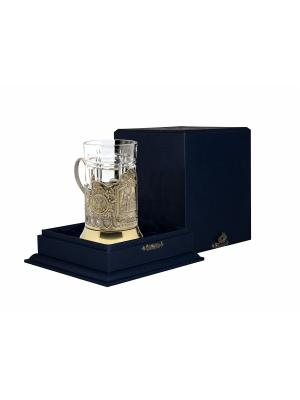 Набор для чая латунный с чернением Храм Спаса-на-Крови Кольчугинъ. Цвет: золотистый