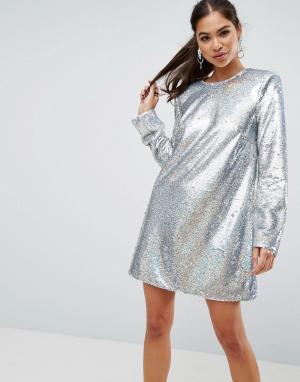 ASOS Платье мини с длинными рукавами и пайетками ULTIMATE. Цвет: серебряный