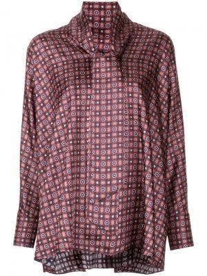 Блузка с мозаичным принтом Astraet. Цвет: красный