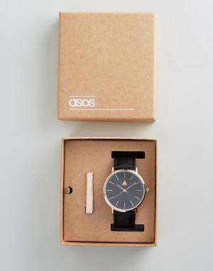 ASOS Подарочный набор с часами и зажимом для галстука. Цвет: черный
