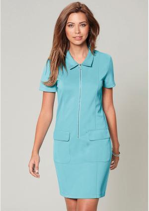 Платье Venca. Цвет: белый, синий (бирюзовый)