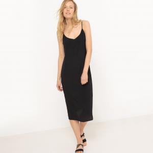 Платье длинное с тонкими бретелями из крепа, 100% вискоза La Redoute Collections. Цвет: зеленый,черный