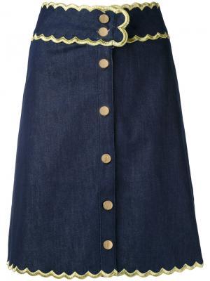 Джинсовая юбка Manoush. Цвет: синий