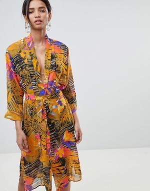 Gestuz Пляжное кимоно с комбинированным принтом. Цвет: мульти
