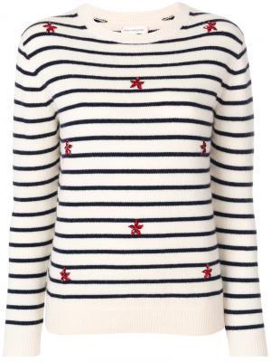 Полосатый свитер с вышивкой Chinti & Parker. Цвет: белый