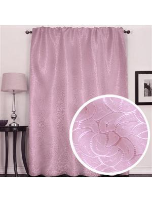 Портьера жаккардовая Розы  145*270 см брусника Amore Mio. Цвет: розовый