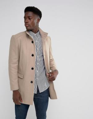 Selected Homme Пальто с добавлением шерсти и воротом-трубой. Цвет: бежевый