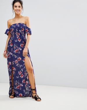 New Look Пляжное платье макси с присборенным лифом. Цвет: темно-синий