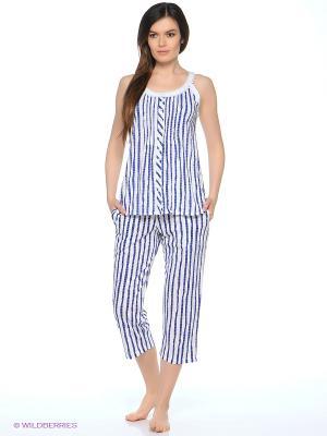 Пижама Eileen West. Цвет: белый, синий