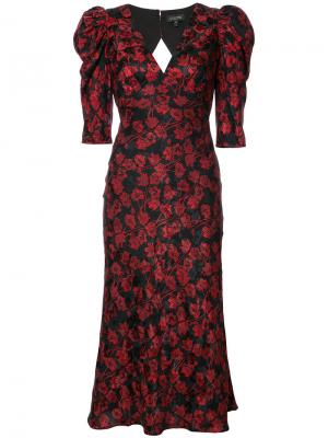 Платье с V-образным вырезом и цветочным узором Saloni. Цвет: красный