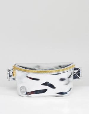 Mi-Pac Серебристая сумка-кошелек на пояс. Цвет: серебряный