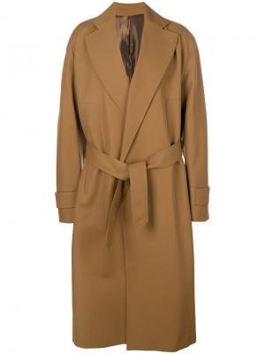 Пальто с завязками на поясе Wooyoungmi. Цвет: коричневый