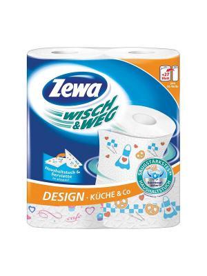 Zewa Полотенца кухонные с рисунком Wisch & Weg 2-ух слойные 2шт. Цвет: голубой