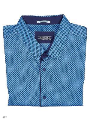 Рубашка AMATO. Цвет: синий, голубой