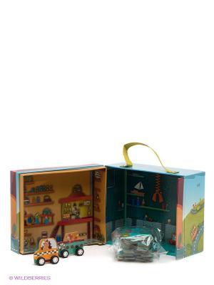 Игрушка-пазл в коробке Машинки Lilliputiens. Цвет: бордовый, голубой