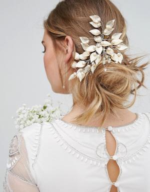 LoveRocks London Гребень для волос с листьями и искусственным жемчугом. Цвет: золотой