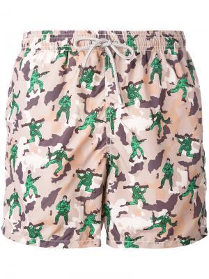 Камуфляжные шорты для плавания Mc2 Saint Barth. Цвет: телесный