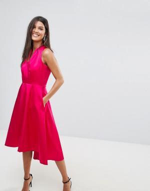 Closet London Атласное короткое приталенное платье с удлиненным краем. Цвет: розовый