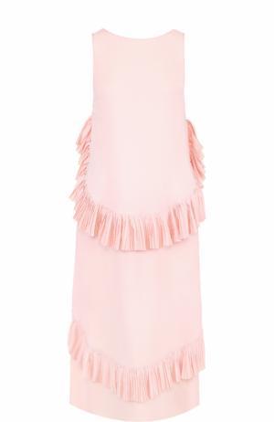 Платье без рукавов с плиссированными оборками No. 21. Цвет: розовый