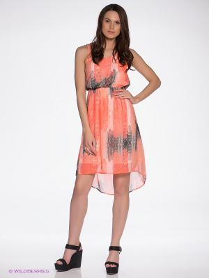 Платье Vila. Цвет: оранжевый, черный, молочный