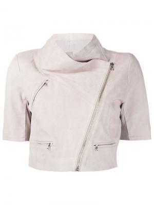 Укороченная байкерская куртка Yigal Azrouel. Цвет: телесный
