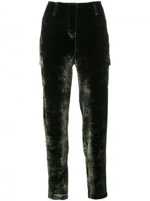 Прямые бархатные брюки Luisa Cerano. Цвет: зелёный