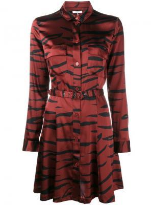 Платье-рубашка с тигровым узором Ganni. Цвет: красный