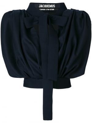 Укороченная блузка с бантом Jacquemus. Цвет: синий