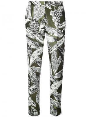 Классические брюки с лиственным принтом Oscar de la Renta. Цвет: зелёный