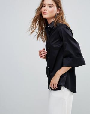Closet London Рубашка с широкими рукавами. Цвет: черный