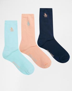 Penguin Набор из 3 пар носков. Цвет: коралловый