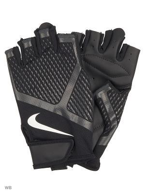 Мужские перчатки для зала Nike. Цвет: черный, белый