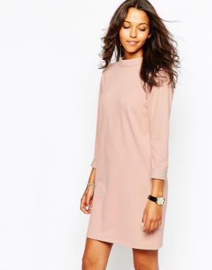 People Tree Платье с высокой горловиной из органического хлопка. Цвет: розовый