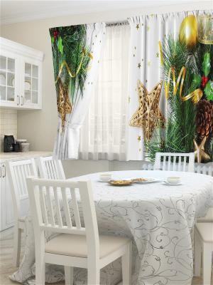 Комплект фотоштор для кухни Блестки ZLATA KORUNKA. Цвет: кремовый