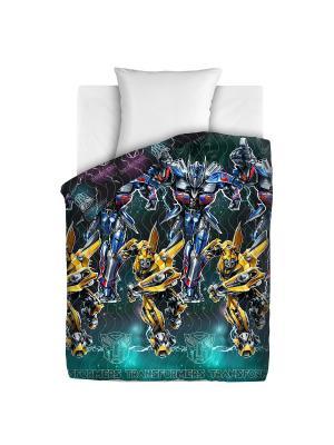 Покрывало стеганое Transformers Оптимус Непоседа. Цвет: черный, бирюзовый