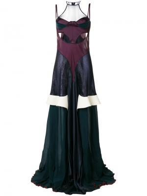 Длинное платье  с вырезными деталями Esteban Cortazar. Цвет: синий