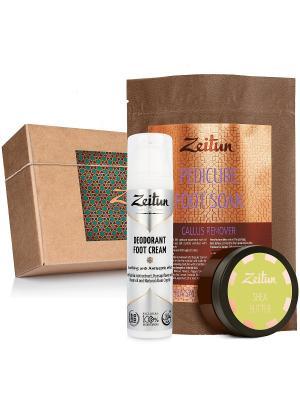 Подарочный набор SPA-педикюр соль против натоптышей, баттер, крем-дезодорант для ног Зейтун. Цвет: розовый, кремовый