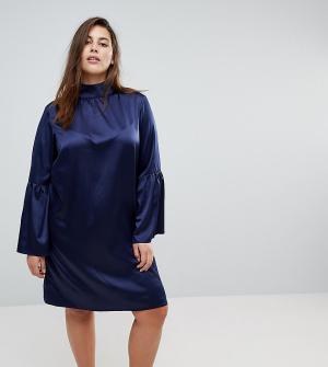 Unique 21 Hero Plus Платье с высоким воротником и расклешенными рукавами. Цвет: темно-синий