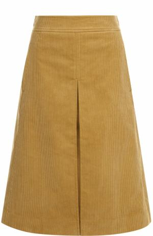 Вельветовая юбка-миди с карманами Tory Burch. Цвет: бежевый