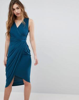Wal G Платье миди с запахом. Цвет: зеленый