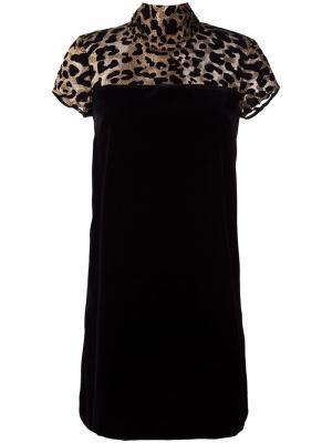 Платье с леопардовым принтом Borbonese. Цвет: чёрный