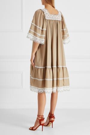 Хлопковое платье Ruban. Цвет: коричневый