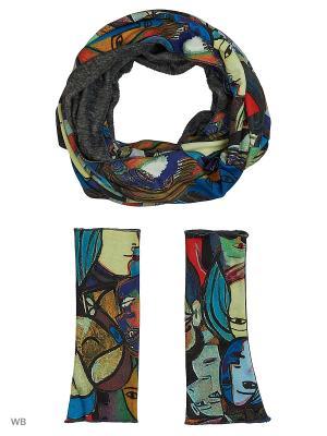Комплект из снуда-мебиуса и митенок трикотажного меха Оланж Ассорти. Цвет: серый меланж, бежевый, синий, серый