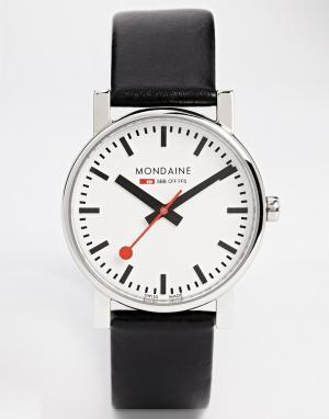 Mondaine Кварцевые часы на кожаном ремешке Evo. Цвет: черный