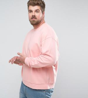 ASOS Свободный розовый свитшот PLUS. Цвет: розовый