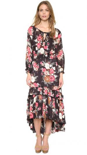 Платье в цветочек с контрастным лифом SPELL. Цвет: голубой