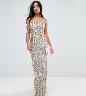 TFNC Petite Платье-бандо макси с пайетками. Цвет: золотой