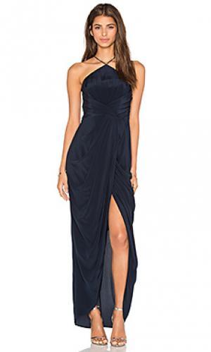 Шелковое длинное платье в мелкий рубчик Zimmermann. Цвет: синий